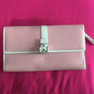 Beautiful pink and white coach wallet!